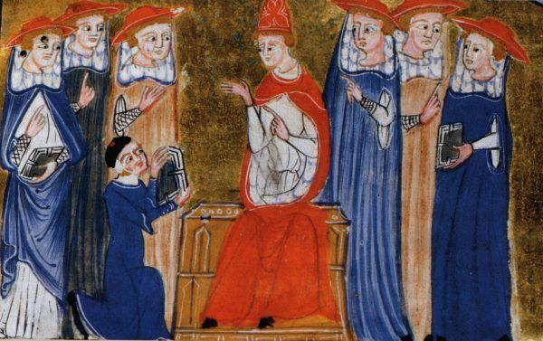 Jan XXII na papieskim tronie. Miniatura z XV wieku.