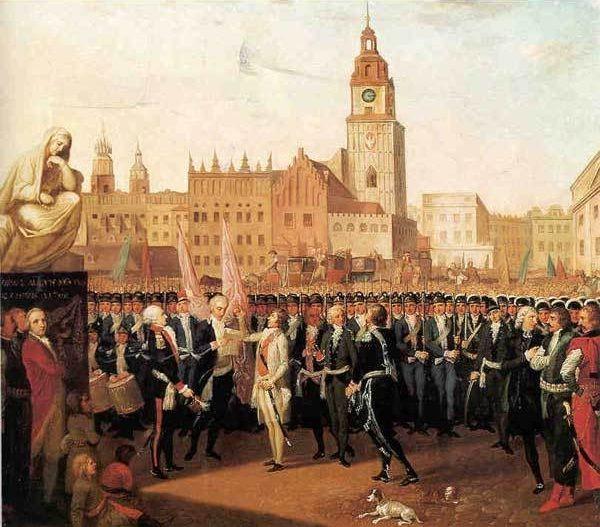 Wybuch powstania mocno zaskoczył Rosjan. Na obrazie Franciszka Smuglewicza z 1797 roku widać przysięgę Kościuszki na Rynku Głównym w Krakowie, od której rozpoczęła się insurekcja.