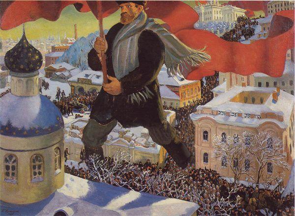 Rewolucja październikowa i przejęcie władzy przez bolszewików dało początek zainteresowania eugeniką w Rosji. Ilustracja autorstwa Borisa Kustodiewa.