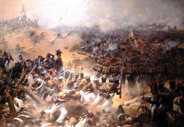 Atak Francuzów na Wielką Redutę na obrazie Juliena Le Blanta z 1831 roku.