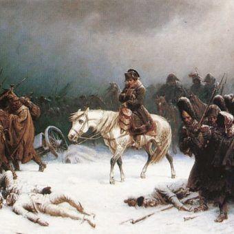 """Odwrót Napoleona spod Moskwy"" obraz Adolpha Northena."