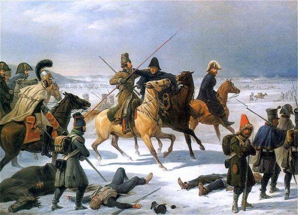"""Gdy zabrakło koni akty kanibalizmu stały się powszechne. Na ilustracji obraz Januarego Suchodolskiego """"Odwrót spod Moskwy""""."""