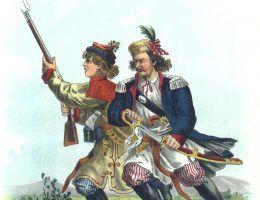 Grenadierzy krakowscy w 1794 roku. Ilustracja Walerego Eljasza Radzikowskiego.
