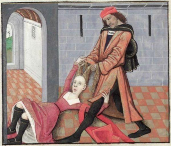 Poniewierana kobieta na średniowiecznej miniaturze