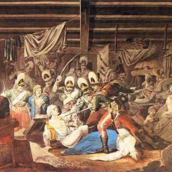 Rzeź Pragi na obrazie Aleksandra Orłowskiego z 1810 roku.