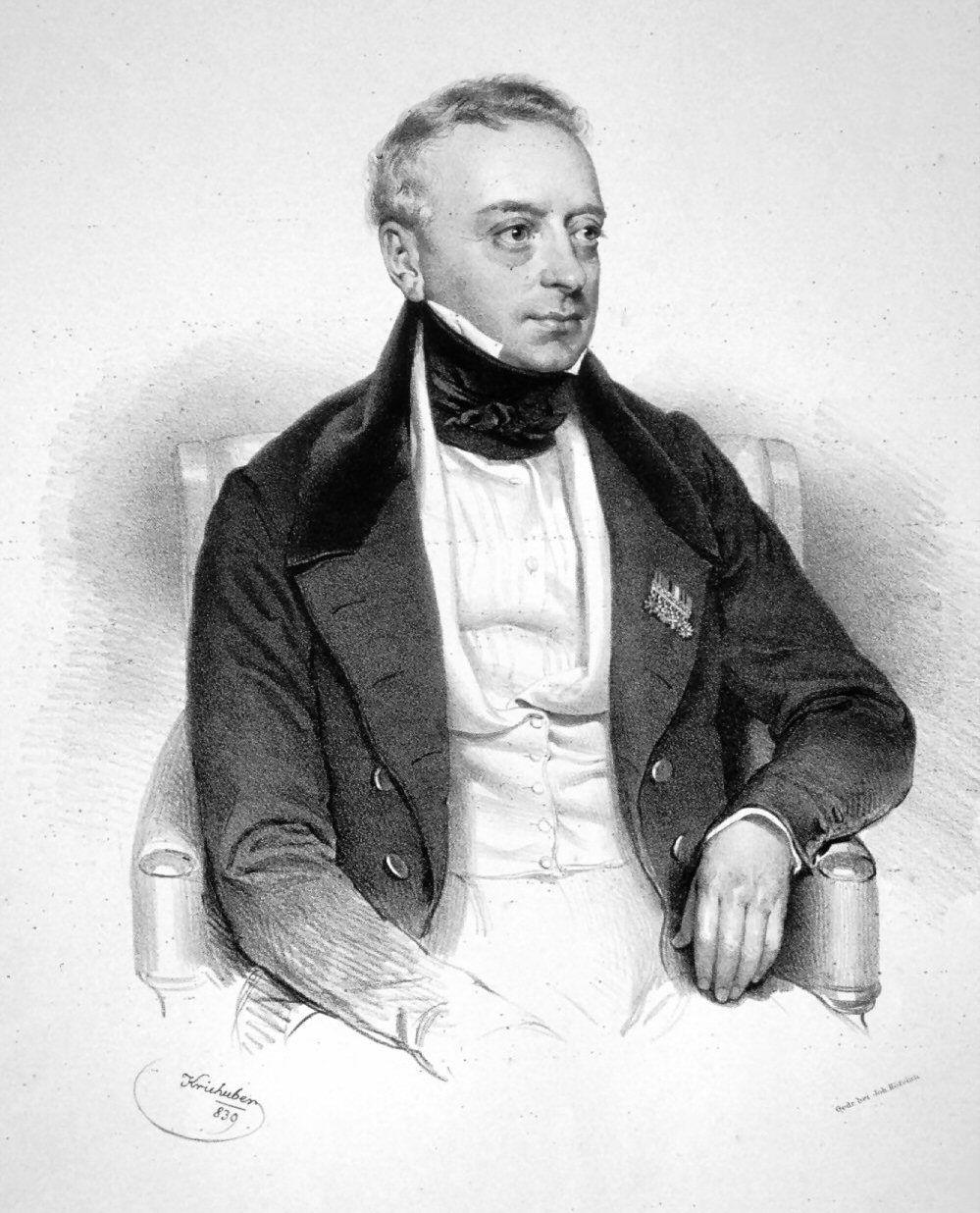 Czy to dziadek Hitlera? Bardzo wątpliwe. Baron Salomon Meyer Rotschild, żydowski bankier, na litografii Josefa Kriehubera z 1839 roku.
