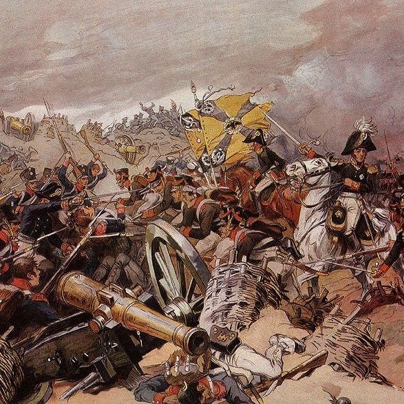Bitwa pod Borodino na litografii Mikołaja Samokisza z 1910 roku.