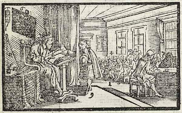 XVIII-wieczna szkoła na rycinie z epoki.