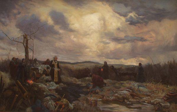 Na polu bitwy poległo prawie 100 tysięcy żołnierzy. Na obrazie ostatnia posługa duszpasterska dla rosyjskich żołnierzy na pobojowisku