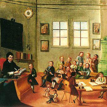 XVIII-wieczna klasa szkolna niedaleko polskich granic - w Zlatej Korunie koło Czeskiego Krumlova.