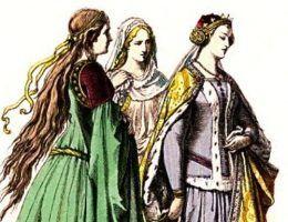 Nie jest znany żaden portret Jadwigi Kaliskiej. Powyżej tablica prezentująca stroje dworskie XIV stulecia. Można sobie wyobrażać, że podobnie ubierała się także polska królowa.