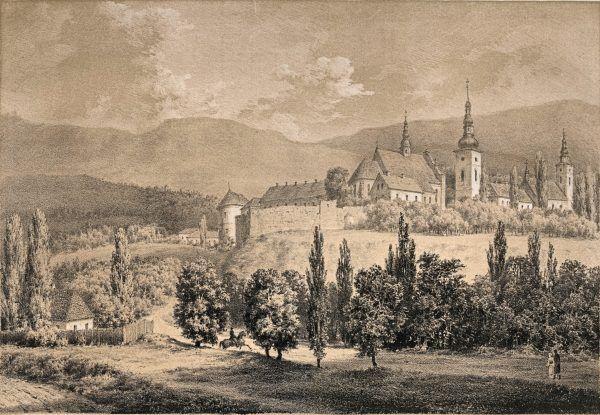 Panorama Starego Sącza z widocznym klasztorem klarysek. Rysunek Napoleona Ordy.