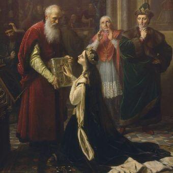 Jadwigę zmuszono do złożenia przysięgi potwierdzającej, że dochowała wierności Jagielle.
