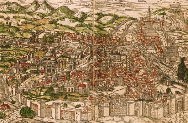 XVI-wieczna panorama wiecznego miasta.