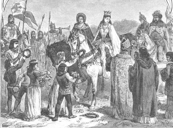 Wjazd dziesięcioletniej Jadwigi do Polski w 1384 roku. Rysunek Ksawerego Pillatiego.