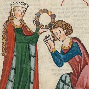 """Nie jest znany żaden portret Jadwigi Bolesławówny. Na ilustracji XIV-wieczna władczyni na iluminacji z tak zwanego """"Kodeksu Manesse""""."""