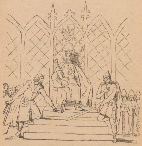 Łokietek na tronie. Rysunek z książki pt. Łokietek w górach Ojcowa wydanej w 1918 roku.