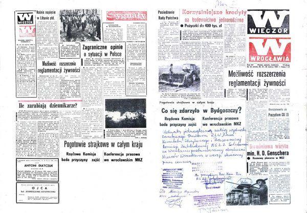"""Podczas gdy przywódcy opozycji przebywali w aresztach, związkowcy byli nie tylko szykanowani, ale i bici. Na ilustracji egzemplarz dziennika """"Wieczór Wrocławia"""" z marca '81 z interwencjami cenzury w tekście komentującym jedno z takich zajść."""