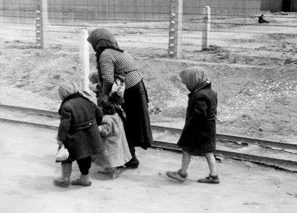Żydowska rodzina w drodze do komory gazowej (maj/czerwiec 1944) w KZ Auschwitz-Birkenau. To zdjęcie zostało wykonane przez SS-mana Bernharda Waltera za zgodą Adolfa Eichmanna.