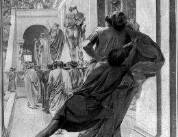 Chociaż miał kilka żon, zabił go... kochanek. Na ilustracji Pauzaniasz z Orestis wbijający miecz w Filipa II podczas igrzysk w Ajgaj. Czy wiemy dlaczego doszło do tej zbrodni?