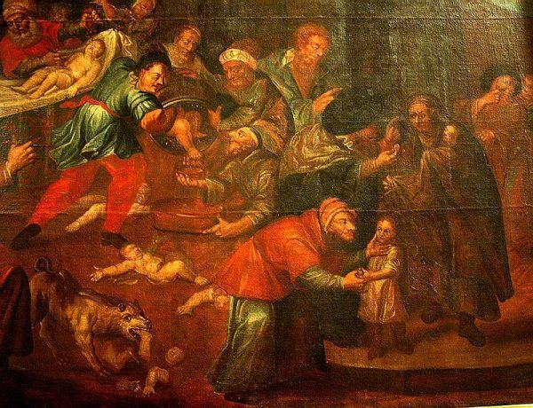 Karol de Prevot centralnym elementem swojego obrazu uczynił Żydów toczących krew niemowlęcia umieszczonego w beczce nabitej gwoździami. Poniżej znajduje się poćwiartowane inne dziecko, którego niepotrzebnymi już członkami karmiony jest pies. To się nazywa propaganda antysemicka. Obraz znalazł się w katedrze w Sandomierzu.
