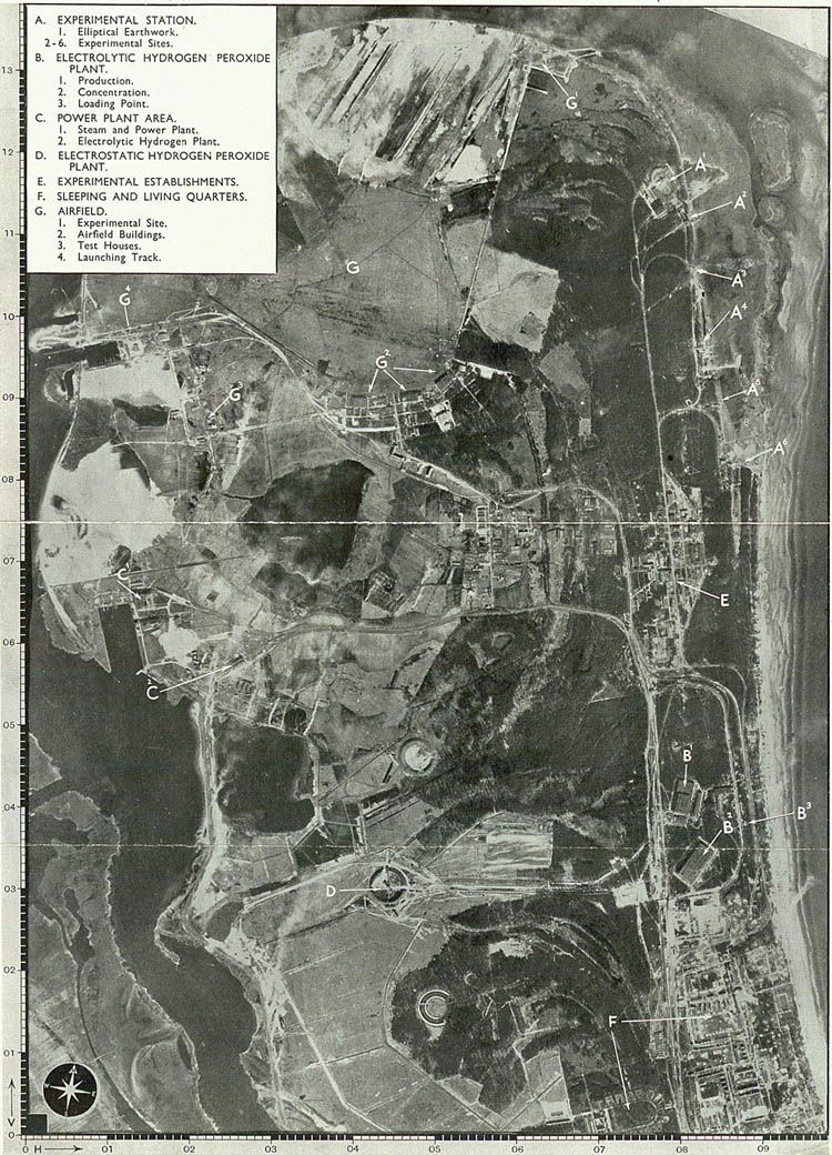 Lotnicza fotografia Peenemunde, wykonana z samolotu RAF w kwietniu 1943 roku.