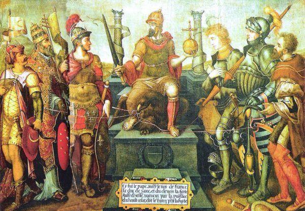 XVI-wieczna alegoria imperialnych rządów Karola V, gdzie tronuje on ponad swymi pokonanymi przeciwnikami, czyli (od lewej): sułtanem Sulejmanem, papieżem Klemensem VII, królem Francji Franciszkiem I, księciem Kliwii Wilhelmem, elektorem Saksonii Janem Fryderykiem I i landgrafem Hesji Filipem.