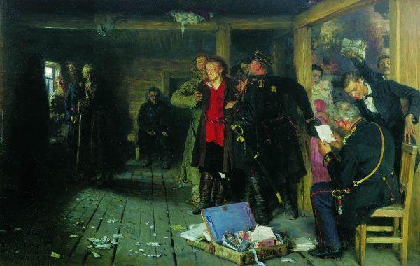 Aresztowanie propagandysty. Obraz Ilji Riepina z końca XIX wieku