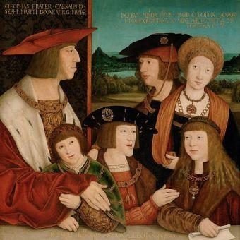 Rodzina w rozkwicie potęgi. Na tym obrazie Bernharda Strigela z 1515 roku cesarz Maksymilian I stoi z synem Filipem i żoną Marią (oboje w rzeczywistości już nie żyli), a siedzą jego wnukowie Ferdynand i Karol oraz przybrany syn Ludwik Jagiellończyk.
