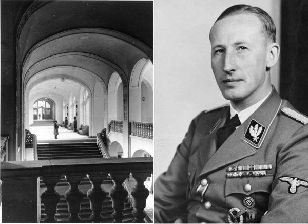 RSHA, czyli Główny Urząd Bezpieczeństwa Rzeszy stanowił państwową centralę policji bezpieczeństwa. Został utworzony w 1939 roku na mocy rozkazu Heinricha Himmlera. Na jego czele stanął Reinhard Heydrich (na zdjęciu po prawej). Po lewej wnętrze gmachu przy Prinz-Albrecht-Straße 8 (obecnie Niederkirchnerstraße) w Berlinie (ówczesna siedziba RSHA).