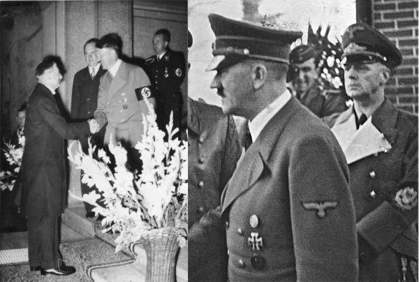 Przebywając jako polski korespondent w Berlinie Smogorzewski poznał nazistowskie elity. Na zdjęciu po prawej Otto Dietrich (z tyłu) na zdjęciu z Hitlerem w 1938 roku, po prawej - Joachim von Ribbentrop z führerem ok. 1940 roku.