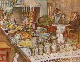 Suto zastawiony wigilijny stół na obrazie Carla Larssona z 1904 roku.