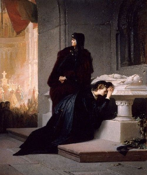 Elżbieta Bośniaczka na grobie swojego męża. Obraz Sándora Liezena-Mayera