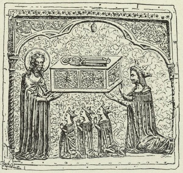 Elżbieta Bośniaczka wraz z córkami na płaskorzeźbie z relikwiarza świętego Symeona
