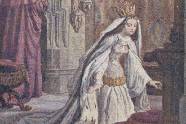"""""""Królowa Jadwiga przed wyjściem do ślubu"""". Ilustracja z pierwszej połowy XX wieku"""