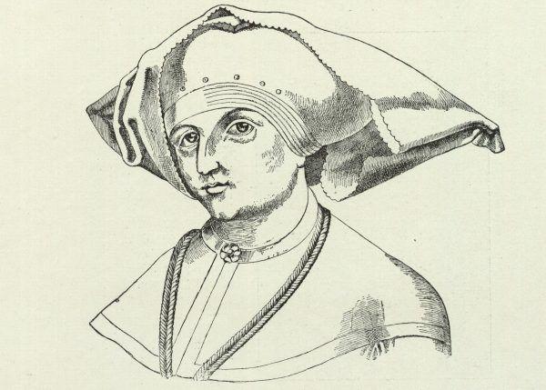 Jadwiga jako małżonka księcia Wilhelma. Przerysowana podobizna z drzewa genealogicznego Habsburgów