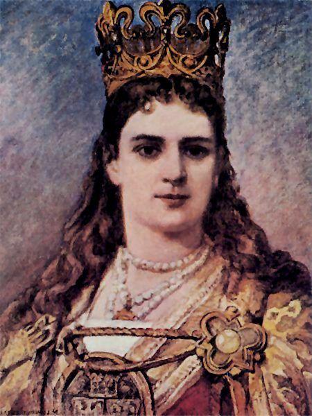 Jadwiga według Jana Matejki. Artysta widział szczątki królowej i opierał się na ich rysunku, przygotowując wizerunek Andegawenki.