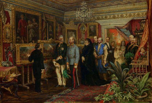 """Władcę można było spotkać nie tylko podczas jego pobytów w Galicji, ale też na codziennych audiencjach w Wiedniu. Obraz Juliusza Kossaka, zatytułowany """"Wizyta cesarza Franciszka Józefa w domu Jana Matejki"""" z 1881 roku."""