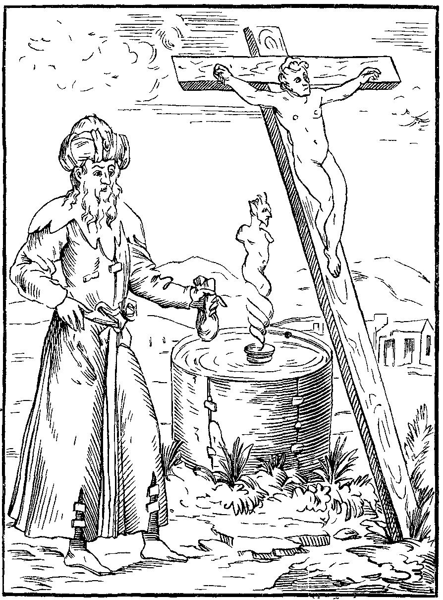 """W XVI wieku nie tylko w Polsce wierzono w plotki dotyczące Żydów. Na ilustracji Żyd wzywający Diabła z naczynia krwionośnego, wypełnionego krwią zamordowanych chrześcijańskich dzieci (""""Historied Prodigieuses"""" 1560 rok)."""