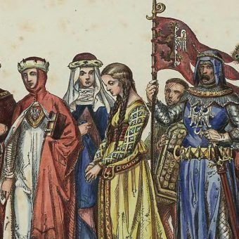 Nie jest znany żaden portret Jadwigi Kaliskiej. Powyżej tablica prezentująca stroje dworskie z przełomu XIII i XIV stulecia autorstwa Jana Matejki. Można sobie wyobrażać, że podobnie ubierała się także polska królowa