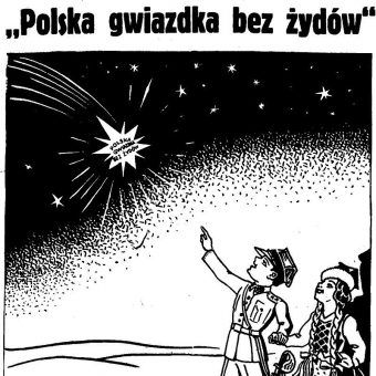 """Przeżywszy Holokaust, powracający do Polski Żydzi nie spodziewali się, że to nie koniec prześladowań... Na ilustracji fragment polskiego plakatu antysemickiego z 1937 roku (dziennik """"Pod Pręgierz"""")."""