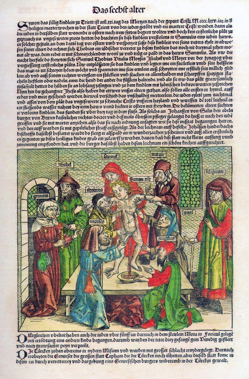 Nic dziwnego, że biskup Maciejowski chciał stworzyć kult młodego Petreni. W końcu Szymona, który ponoć został zamordowany przez Żydów, udało się uczynić błogosławionym Kościoła Katolickiego. Na ilustracji rzekomy mord rytualny dokonany przez Żydów na Szymonie z Trydentu w 1475 roku (Weltrchronik Hartmanna Schedela, 1493)