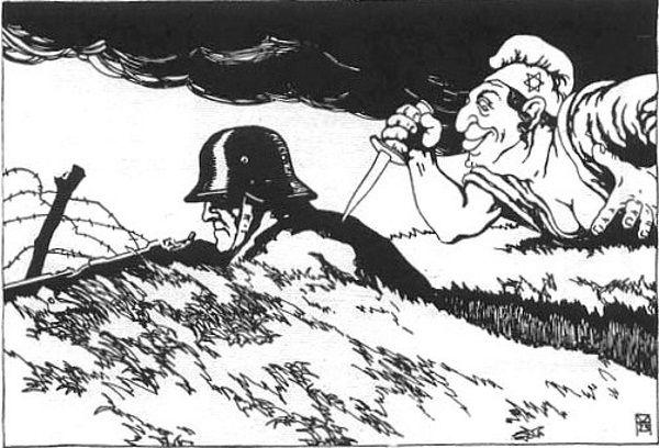 """Nacjonalistyczny plakat propagandowy przedstawiający """"zdradę"""" lewicy podczas I wojny światowej. Naziści nie tylko przestrzegali przed sowieckim komunizmem, ale często przedstawiali komunistów pod postacią Żydów."""