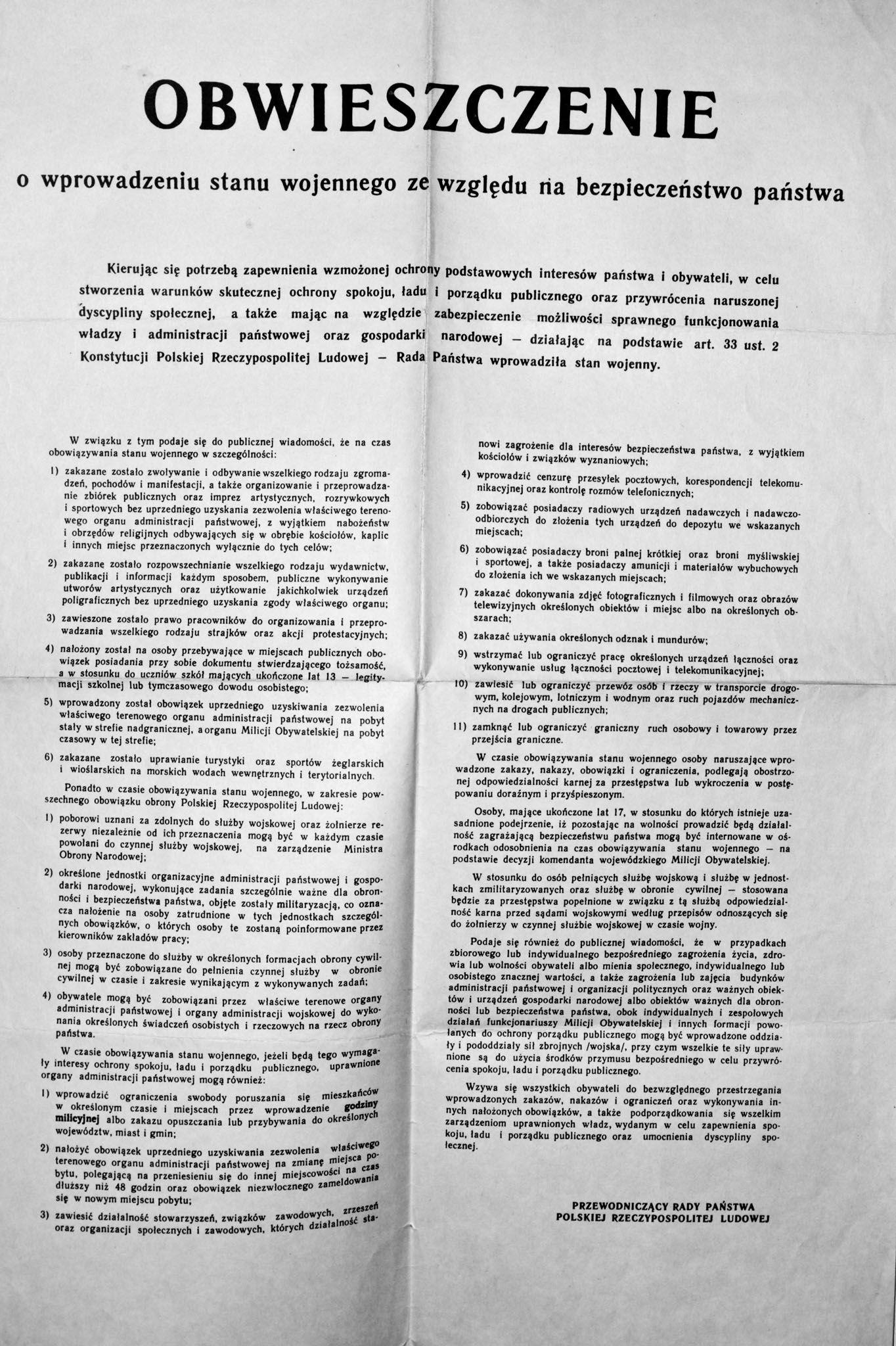 To jedno obwieszczenie, wydane przez Radę Państwa, diametralnie zmieniło sytuację w Polsce z dnia na dzień. Wprowadzenie stanu wojennego oznaczało niepewność i strach nie tylko dla opozycji, ale i dla zwykłych obywateli.