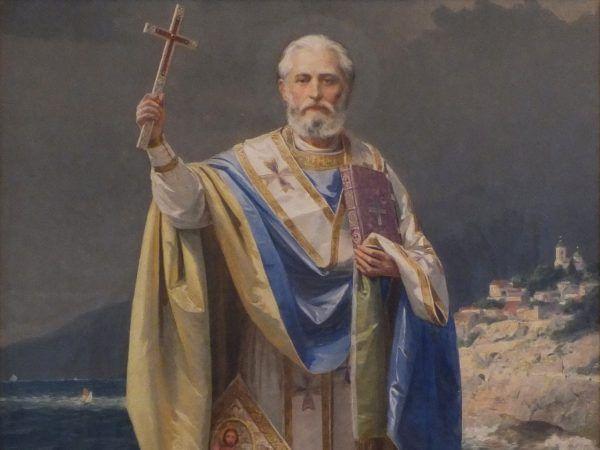 Święty Mikołaj, szczególny patron... Polski i naszej pierwszej dynastii. Fragment obrazu Urosza Predicia z 1903 roku.