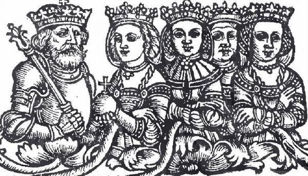 Władysław Jagiełło i jego żony. Jako pierwszą od lewej widać Jadwigę - przedstawioną schematyczne, w renesansowej sukni.