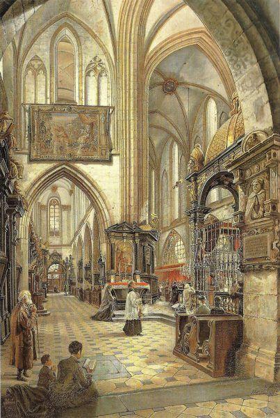 Wnętrze katedry na Wawelu. Grafika z 1877 roku