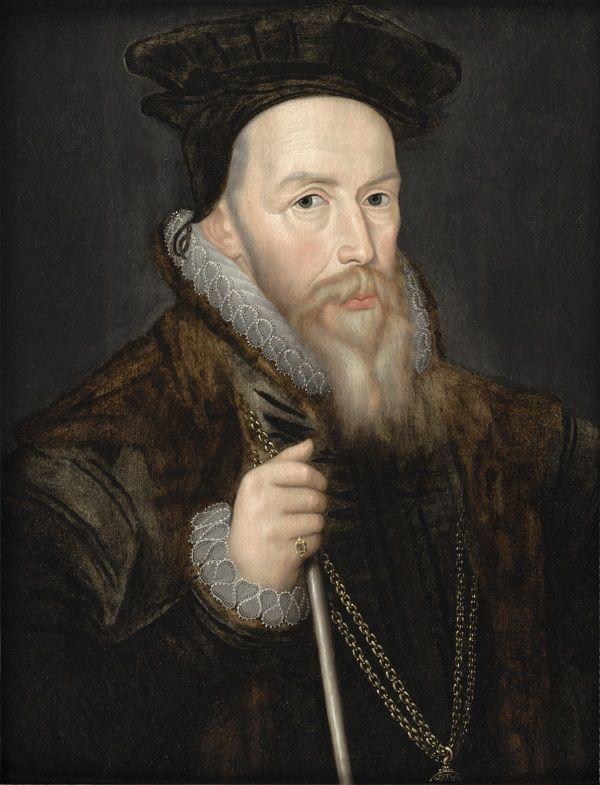 Zaufany doradca Elżbiety I Tudor William Cecil, lord Burghley. Bieli swojej cery i zaróżowionych policzków raczej nie zawdzięcza angielskiemu powietrzu. (fot. domena publiczna).