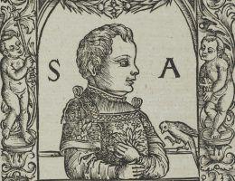 Zygmunt August jako dziecko na drzeworycie z 1521 roku. Z prawdziwym wyglądem królewicza portret ten niewiele ma wspólnego. Zygmunt August miał wówczas zaledwie roczek