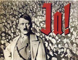 Jak określić możliwość przeprowadzenia wywiadu z przyszłym ludobójcom? Czy był to dla polskiego dziennikarza powód do dumy, czy przeciwnie - przeżycie, które na zawsze okryło go hańbą? Na ilustracji fragment niemieckiego propagandowego plakatu.